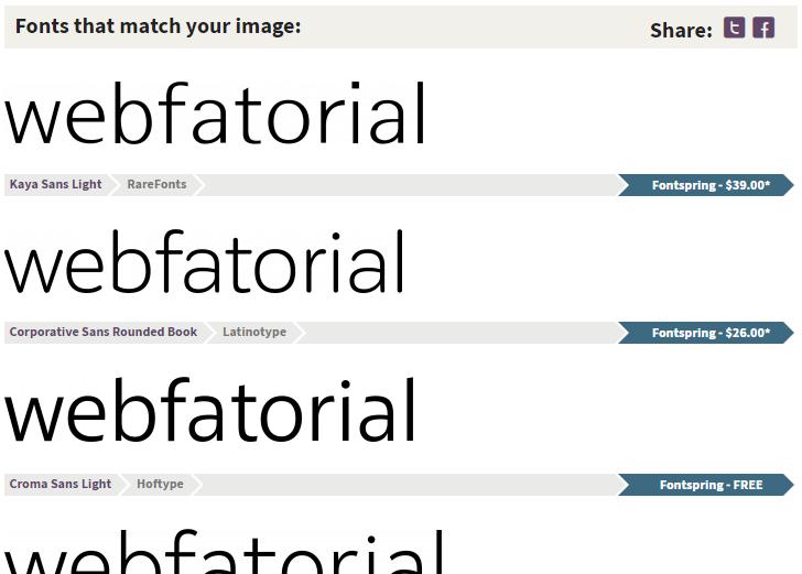 Identificador de fonte: resultado do Identify Fonts.