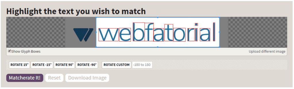Identificador de fonte: Identify Fonts (Matcherator) em sua tela pós-upload.