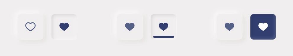 Neumorfismo: sugestões de estados para botões.