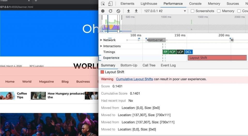Como melhorar Cumulative Layout Shift (CLS): exemplo de relatório das DevTools do Chrome.