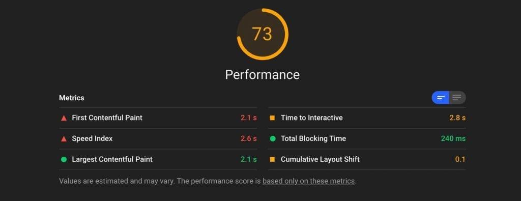 Como melhorar Cumulative Layout Shift (CLS): exemplo de relatório da ferramenta Lighthouse.