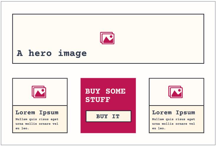 Camada Composição: exemplo de layout clássico, trocando um card por uma CTA.