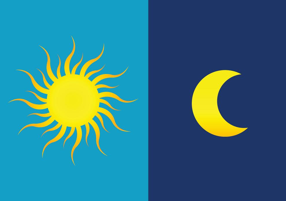 Dark Mode: imagem mostrando Sol e Lua lado-a-lado.
