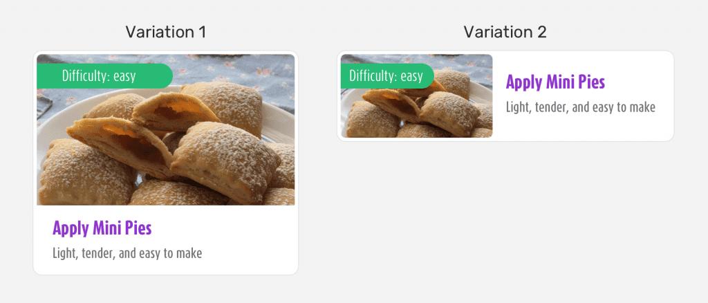 Pixel Perfect: variação do componente card.