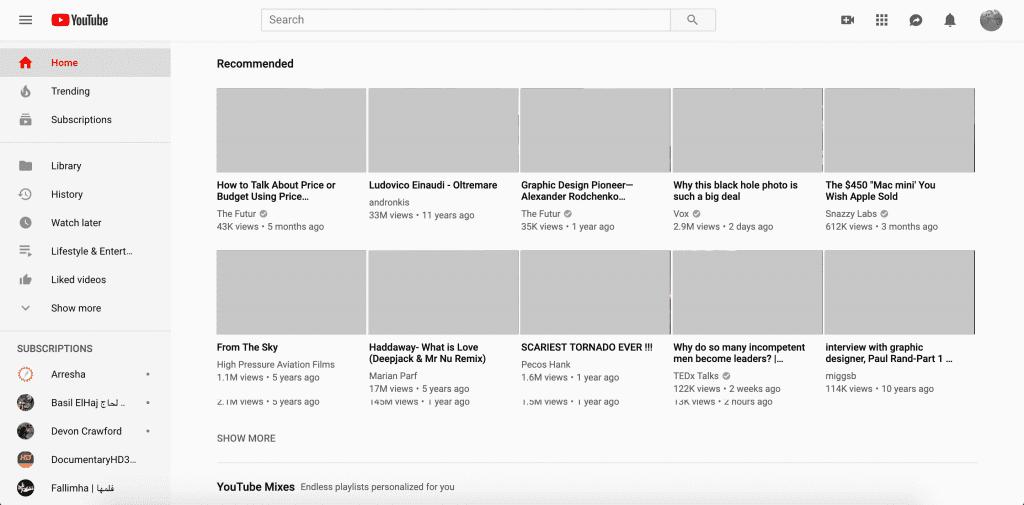 Pixel perfection: mockup representando o YouTube.