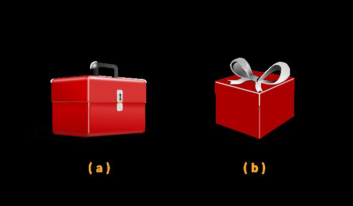 Especificidade CSS: 2 caixas vermelhas (uma de ferramentas; a outra, de presente).