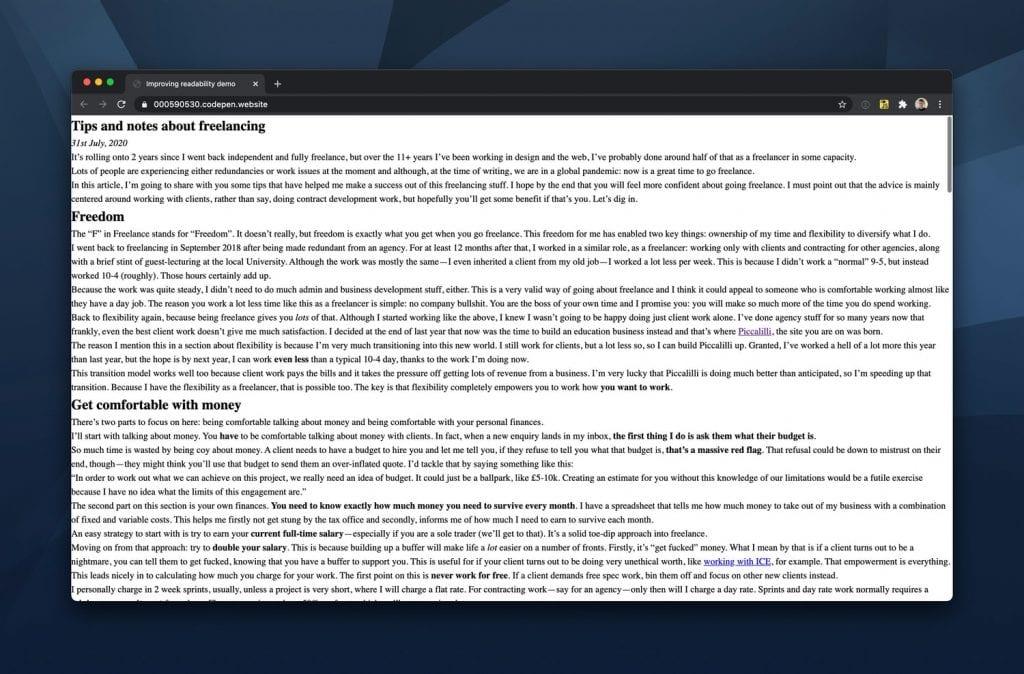 Uma página em HTML puro: ponto de partida para demonstrar como melhorar a legibilidade de textos na Web.