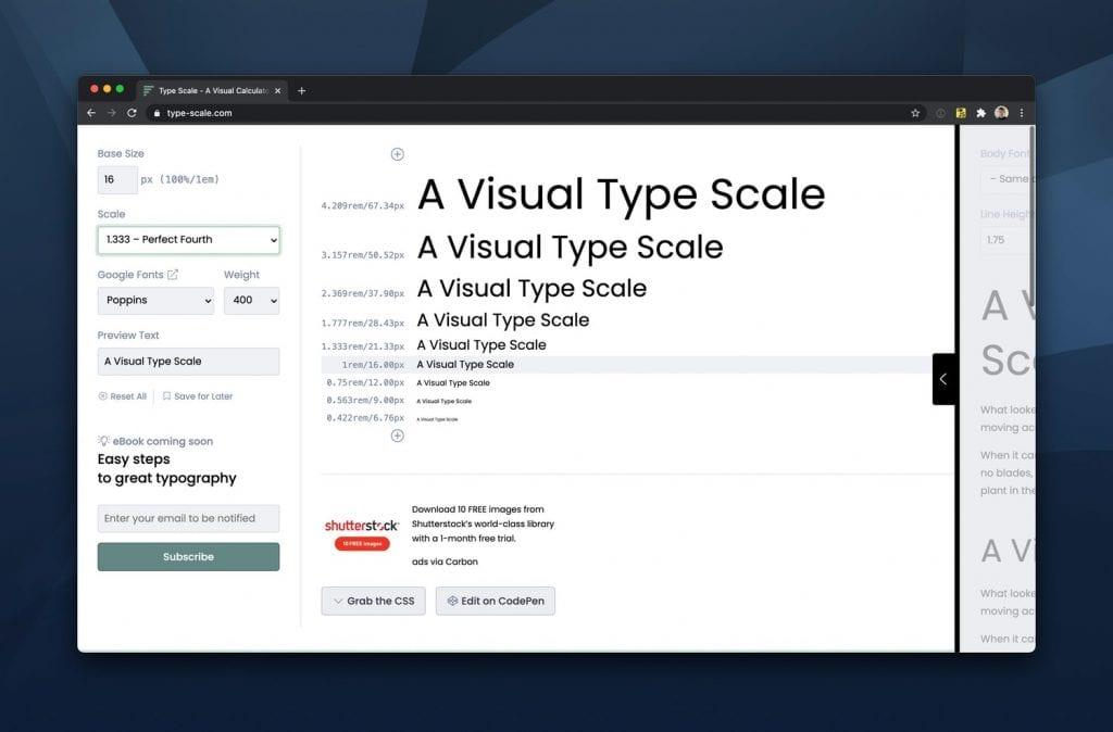 Usando escala modular no texto para melhorar a legibilidade do texto.