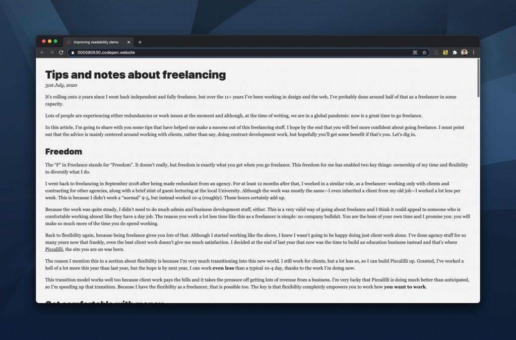 Resultado parcial depois de aplicada o controle de fluxo (seletor-coruja) para aprimorar a legibilidade do texto do artigo.
