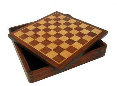 Schaakbord hout met opbergvak