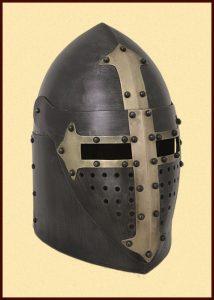 Sugar Loaf helm zwart met vizier 14e eeuws
