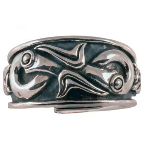 Viking Drakenkoppen Ring Zilver Groot