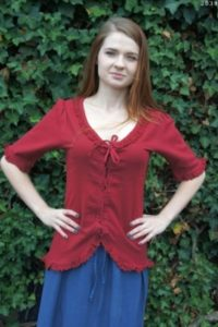 Middeleeuwse Dames Blouse in Rood