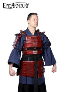 Lederrüstung Samurai maat M-L rot DHBM-IF-100511