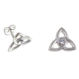 Trefoil knot stud earrings, clear crystals silver SJ-JSE13CC