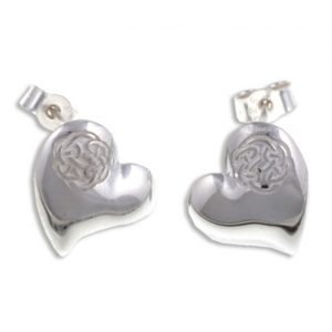 Heart stud earrings with lugh`s knot silver SJ-JSE14