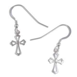 Fleur de Lis cross earrings silver SJ-JSE17