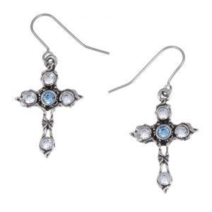 Crystal Cross earrings with Aqua Blue SJ-PE20AQ