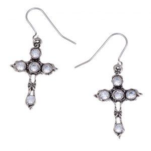 Crystal Cross earrings with Clear Crystal SJ-PE20CC