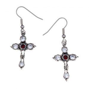 Crystal Cross earrings with Ruby Red SJ-PE20RY