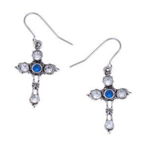 Crystal Cross earrings with Sapphire Blue SJ-PE20SB