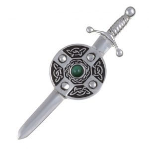 Kilt pin with sword and schield with Malachite SJ-KP08M