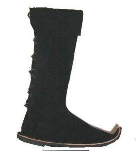 Middeleeuwse Hoge Laarzen met punt in Zwart