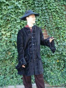 Middeleeuwse Heren Jas Zwart
