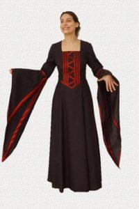 Middeleeuwse Jurk in zwart met rood