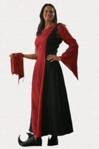 Middeleeuwse Jurk in Rood/Zwart