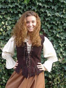 Mittelalter Leder Damen Veste Braun
