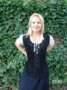 Middeleeuws Lederen Dames Corset Zwart