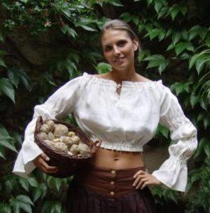 Middeleeuwse Dames Blouse in Wit