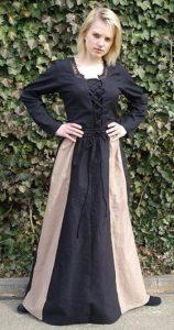 Middeleeuwse Dames Rok Zwart/Beige