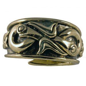Viking Drakenkoppen Ring Brons klein