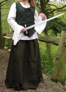 Middeleeuwse Dames Rok Groen