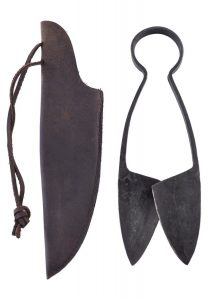 Mittelalter Bügelschere mit Ledertasche Mittel