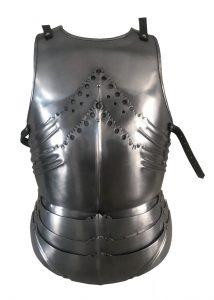 Gotischer Plattenharnisch, Brust- und Rückenpanzer, 1,2 mm Stahl