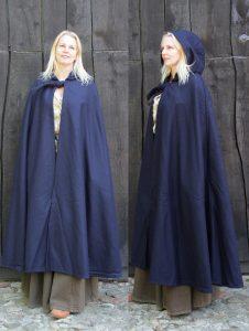 Mittelalter Umhang Blau mit Mutze