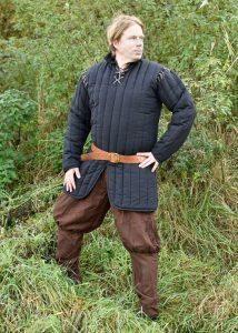 Mittelalter Gambeson mit abnehmbaren Ärmeln, schwarz