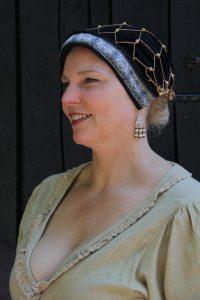 Mittelalter Samthaube mit Haarnetz in Schwartz