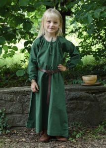 Wikingerkleid Unterkleid für Kinder, grün.