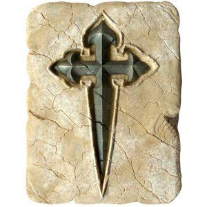 Historisches Jakobskreuz aus Stein 20x15cm