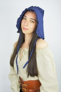 Mittelalter Haube mit Rüsche und Bändeln in Blau