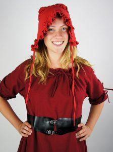 Mittelalter Haube mit Rüsche und Bändeln in Rot