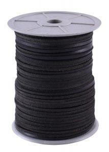 Vierkant leder per meter van de rol 2,8 mm dik zwart