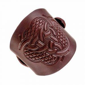 Lederen Armband met Keltische Knopen bruin