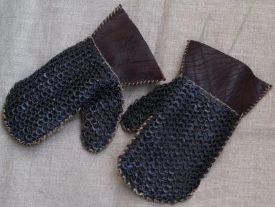 Wikinger Pantzer Handschuhe Leder mit kettenzeug mit ronde ringe