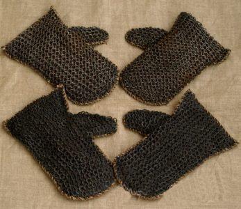 Wikinger Pantzer Handschuhe Leder mit kettenzeug