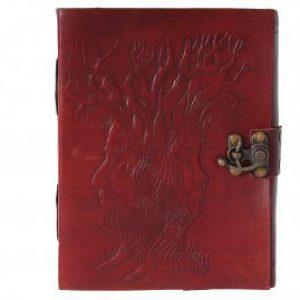 Lederbuch mit geprägtem Baum der Weisheit